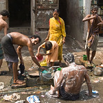 Washing in the street